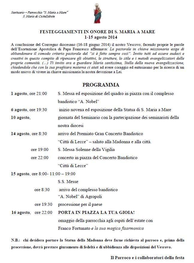 Programma festa in onore di Santa Maria a Mare