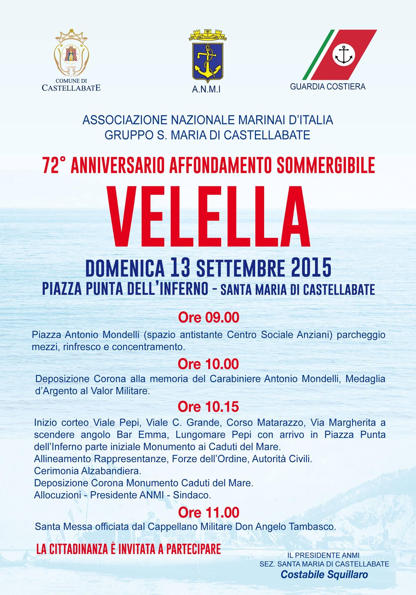 Anniversario affondamento Velella 2015 Castellabate