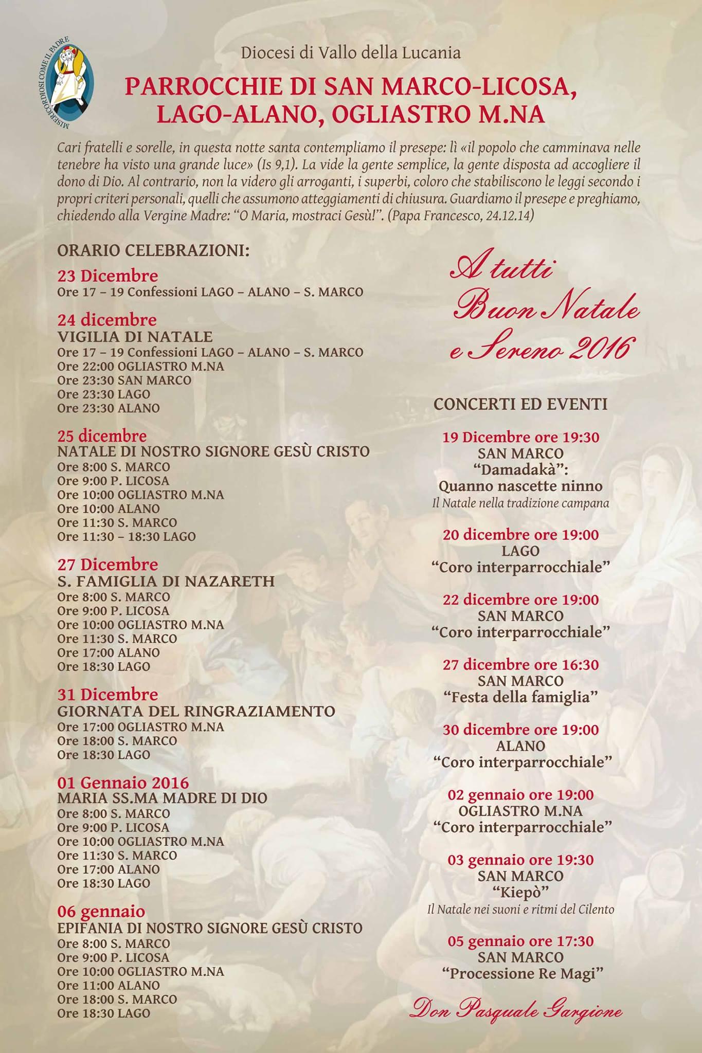 Orario celebrazioni Natale 2015 (Parrocchie di San Marco-Licosa, Lago-Alano e Ogliastro Marina)